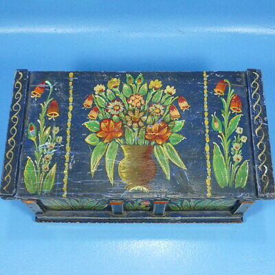"16"" Antique German Black Forest Carved DOLL TRUNK BOX Blue Floral Painting c1880"