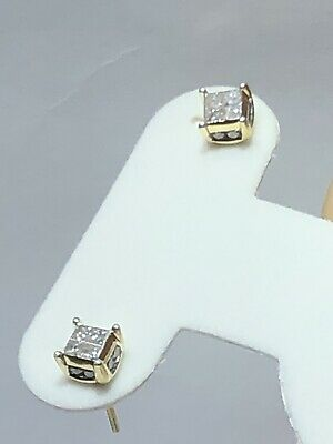 REAL!14K Yellow Gold Princess And Round Cut 0.75ctw Diamond Stud Earring 6.30mm