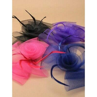 Fascinator Mesh hair clip with biot feathers, weddings, races, ladies day,