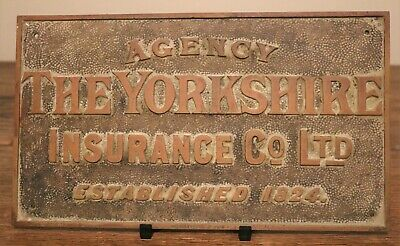 """Antique Brass Insurance Architectural Door Sign """"The Yorkshire Insurance Co"""""""