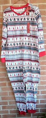 Jammies For Your Families Womens One Pc Pajamas Sz XL Christmas Polar Bear