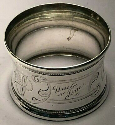 """Beautiful Sterling Silver Napkin Ring engraved pattern, with monogram 1.25"""" wide"""