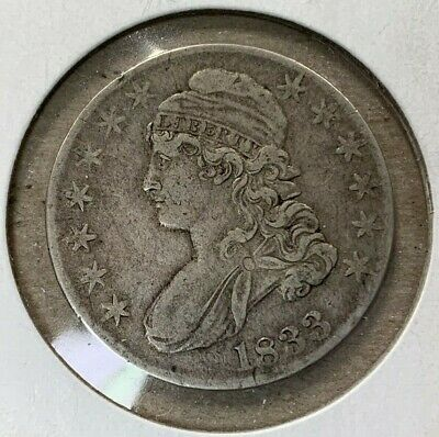 1833 Capped Bust Half Dollar US Coin ~ Raw, Uncertified & Ungraded ~ Free Ship