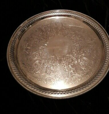"Large round English Silver Plate on Copper Pierced Tray 14.5"" (37cms)"