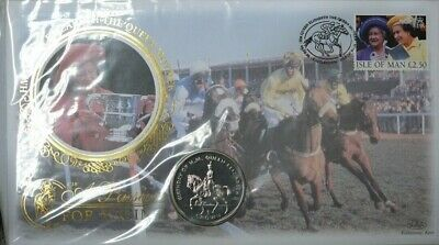 Coin Cover Isle Of Man 1998 Queen Mum Passion Horse Racing With B/U Crown