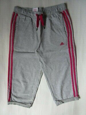 Girls Adidas cropped jogging bottoms, Grey-stripes in pink, age 13-14 years
