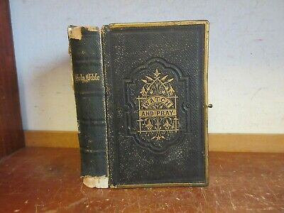 Antique HOLY BIBLE Leather Book 1880's? OLD / NEW TESTAMENT CLASP BINDING JESUS