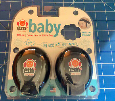 Baby Ear Muffs Black with  Blue Checked Headband