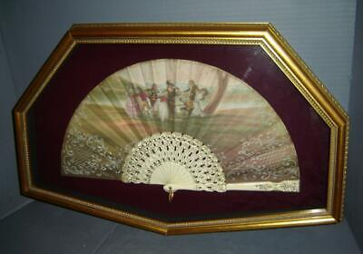Antique Exquisite Spanish Spain Painted Aristocracy Games Lady Hand Fan Framed.