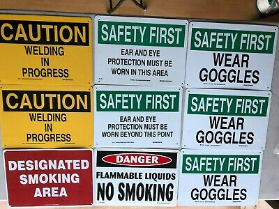 NEW - Eleven pieces   SAFETY  SIGNS