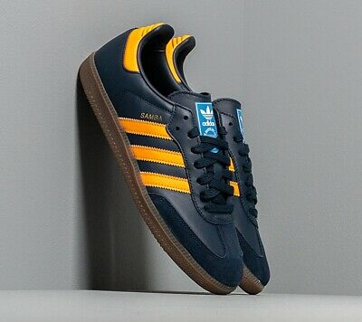 NEW adidas Originals Men's SAMBA OG SHOES Navy/ Real Gold/ Cloud White