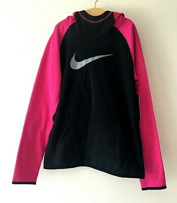 Nike Therma Girls Fleece Lining Hoodie Size L Black Pink Jumper Sport Outdoor