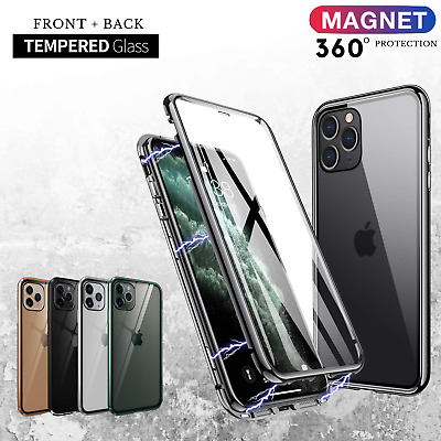 Magnetic Phone Case Double Side Glass Cover iPhone 11 Pro Max XR XS MAX 7 8 Plus