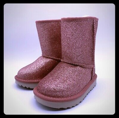 UGG Girls Toddler Kids Classic Short II Glitter Pink Boots - Toddler Size 10