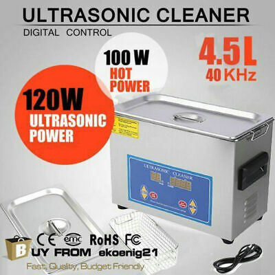 New 4.5L Ultrasonic Cleaner Stainless Steel Industry Heated Heater w/Timer HC