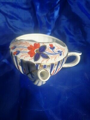 Antique Invalid - Baby feeder Cup. English in a Ribbed Imari design.