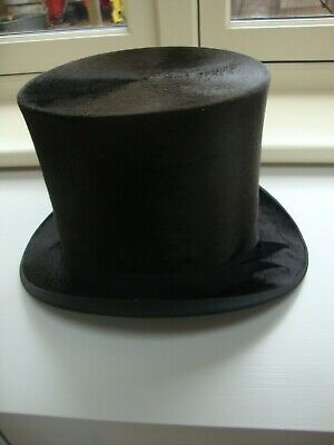 VINTAGE BLACK SILK TOP HAT WITH HIGH CROWN size 55 cm 6 7/8 INCH