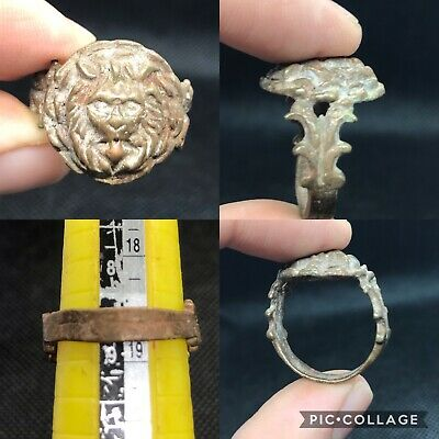 wonderful near eastern ancient bronze lion ring