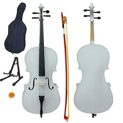 Cello 4/4 Full Size BassWood Set with Bag+ Bow+ Rosin+ Bridge+ Stand White