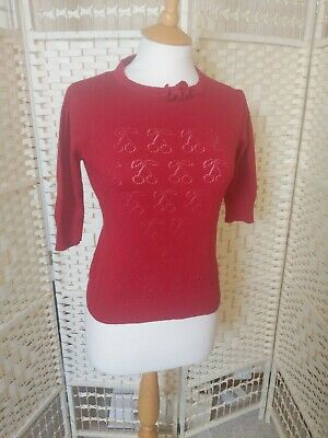 Collectif Cherry Red Short Sleeve Cropped Jumper Retro Rockabilly 50's Style...