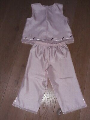 Marks & Spencers Girls Pink Silk Effect Cropped trousers and topAge 4-5 Wedding