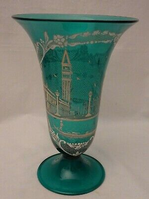 antique murano glass vase from the 1930,all decorated by hand