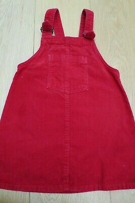 Next Girls Red Cord Pinafore Dungaree Dress age 3-4