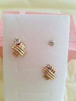 14K gold plated & 4mm CZ stud earrings back post new without tag