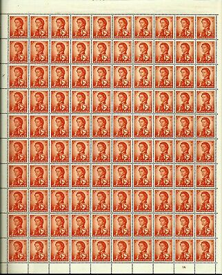 Hong Kong 1962 QEII Definitive 5 Cents Complete sheet of 100 Plate 1A MNH