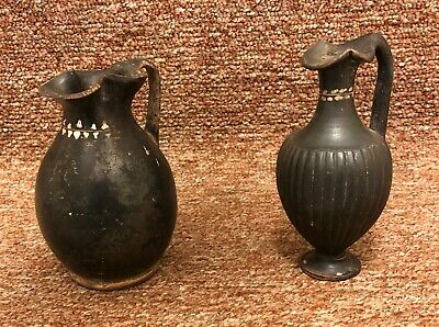 Lot of 2 Ancient Oinochoe Oenochoe Black W/ Painted Leaves Italy 4th Century BC
