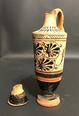 Ancient Lekythos With Black Painted Anthemion Leaves Italy Greece 4th Century BC
