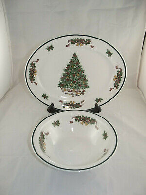 Johnson Brothers Victorian Christmas Serving Platter and Serving Bowl