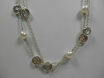 """Tiffany & Co Nature Rose Pearl 34"""" Necklace Vintage Rare! Sterling Silver, Pouch"""