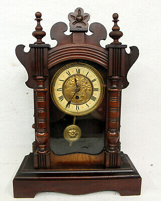 Antique Table Clock Mantel Clock*German clock  * in wood hand carved