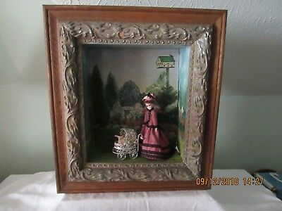 Antique Hand Painted Shadow Box W/ Vintage Bisque Dolls And Carriage