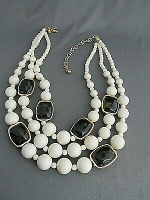 Vintage Chico's Gold Tone 3 Tier Faux Tortoise Shell White Graduating Necklace