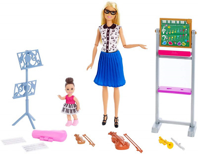 Barbie FXP18 Music Teacher Doll, Blonde and Playset with Flipping Chalkboard, 4
