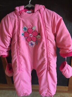 Pink Hooded Winter Snow Suit Girls Size 24 Months  Flowers W Mittens Okie Dokie