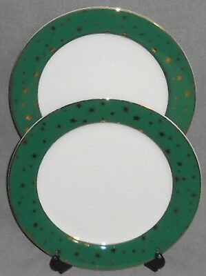Set (2) Sakura GREEN GALAXY Dinner Plates w/GOLD TRIM Holiday-Christmas