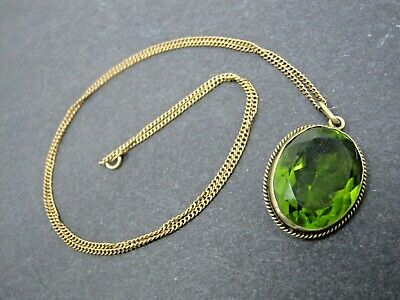 """Antique 14k Solid Gold Chain w/ 1"""" Green Glass Sterling Pendant, 2.8g 20"""" Chain"""