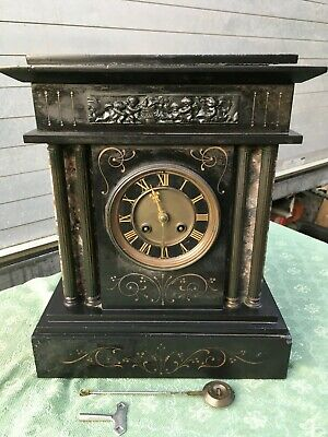 "Antique  French Slate & Marble Mantle Clock Working Very Heavy 14"" High"