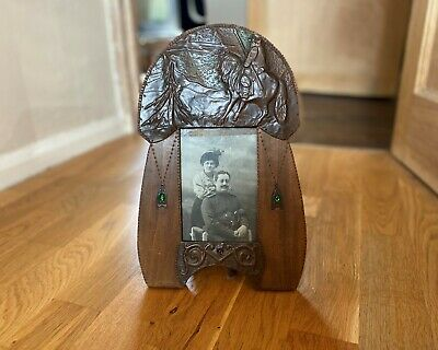 Antique Arts & Cafts Copper Chrysoprase Picture Photo Frame Knight Art Nouveau