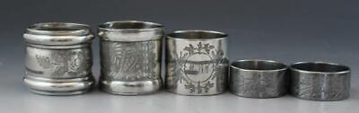 Antique Victorian Group of 5 Silverplate Napkin Rings Engraved Floral Designs