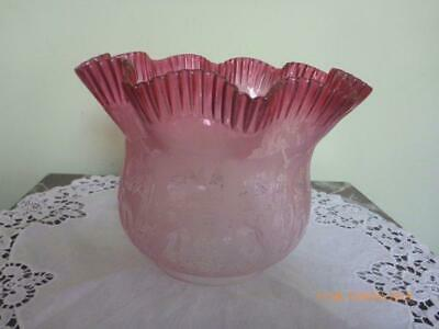 Fabulous Antique/Vintage Cranberry Etched Glass Oil Lamp Shade