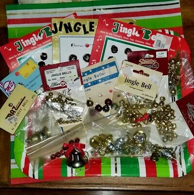 Vintage Christmas Jingle Bells Large Lot Over 240 Pcs Crafting Various Sizes