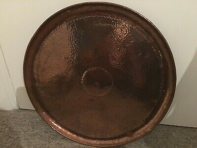 """Antique Hammered Copper Newlyn Tray Stamped Newlyn Arts & Crafts 18.5"""" Lovely"""