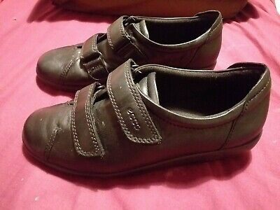 Ecco Black 'soft' Leather Shoes with Two Adjustable Straps size 5uk / 38eu Boxed