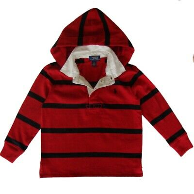Genuine Boys Ralph Lauren Polo hoodie Rugby T Shirt Top age 8 - 10 yrs  RRP £65