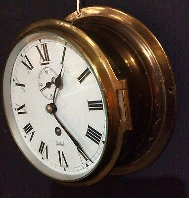 20th CENTURY BRASS SHIPS BULKHEAD CLOCK
