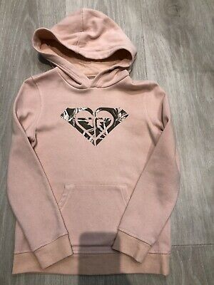 Girls Roxy Dusky Pink hooded jumper, with branding, age 12, worn once
